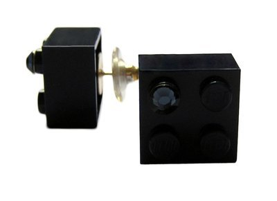 Navy Blue LEGO® brick 2x2 with a Blue SWAROVSKI® crystal on a Silver plated stud/silicone back stopper