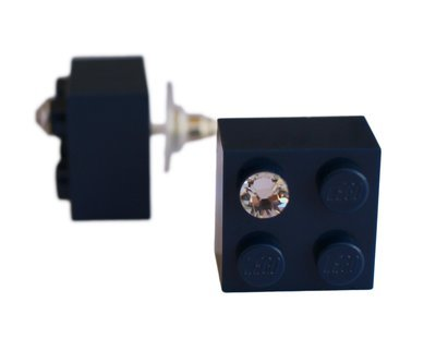 Navy Blue LEGO® brick 2x2 with a 'Diamond' color SWAROVSKI® crystal on a Silver plated stud/silicone back stopper