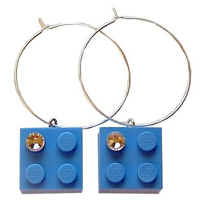 ​Light Blue LEGO® brick 2x2 with a 'Diamond' color SWAROVSKI® crystal on a Silver plated hoop