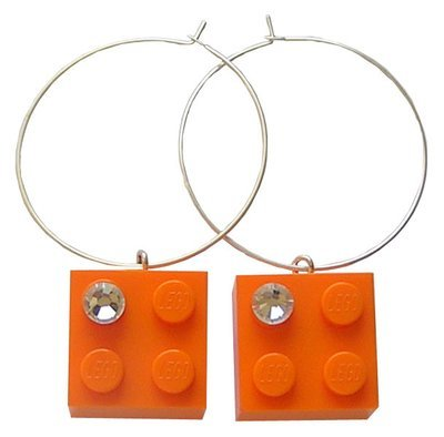 Orange LEGO® brick 2x2 with a 'Diamond' color SWAROVSKI® crystal on a Silver plated hoop