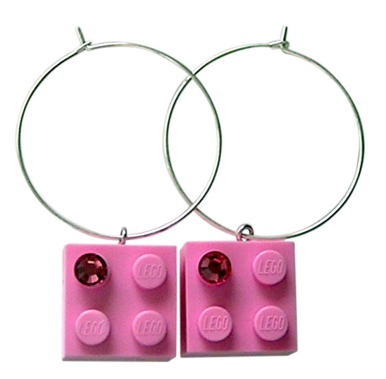 Light Pink LEGO® brick 2x2 with a Pink SWAROVSKI® crystal on a Silver plated hoop