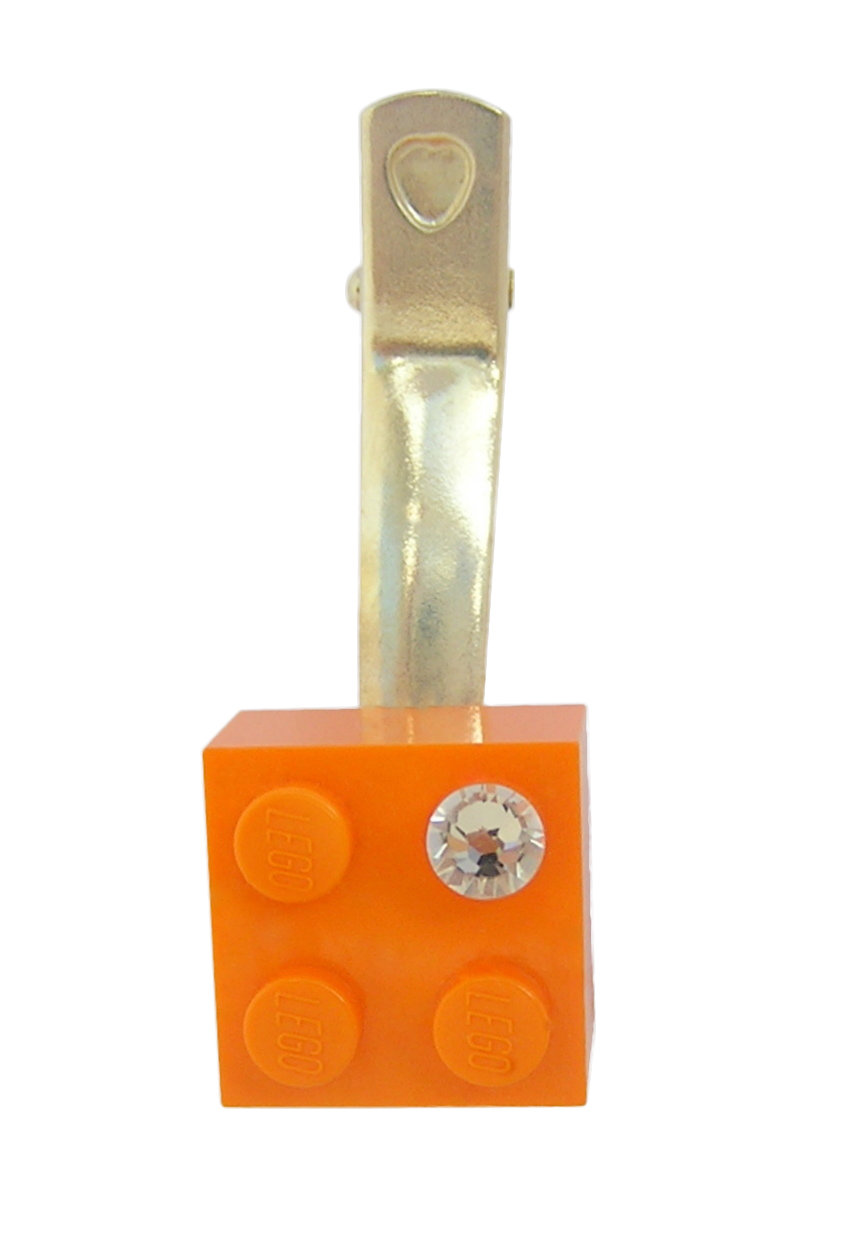 ​Orange LEGO® brick 2x2 with a 'Diamond' color SWAROVSKI® crystal on a Silver plated hair clip (one piece)​