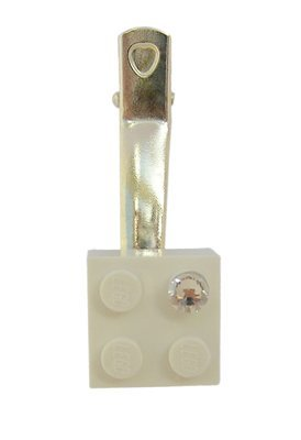 ​White LEGO® brick 2x2 with a 'Diamond' color SWAROVSKI® crystal on a Silver plated hair clip (one piece)​