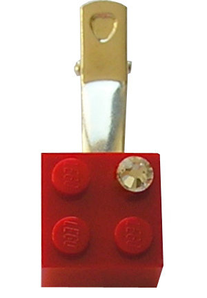 Red LEGO® brick 2x2 with a 'Diamond' color SWAROVSKI® crystal on a Silver plated hair clip (one piece) REMINDER