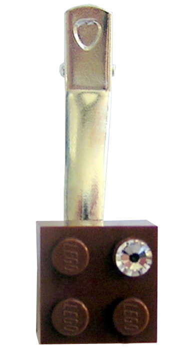 ​Brown LEGO® brick 2x2 with a 'Diamond' color SWAROVSKI® crystal on a Silver plated hair clip (one piece)​