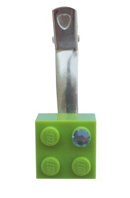 ​Light Green LEGO® brick 2x2 with a Green SWAROVSKI® crystal on a Silver plated hair clip (one piece)