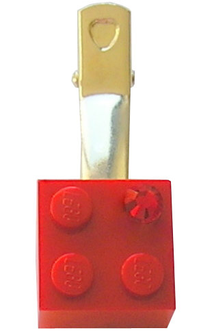 ​Red LEGO® brick 2x2 with a Red SWAROVSKI® crystal on a Silver plated hair clip (one piece)​