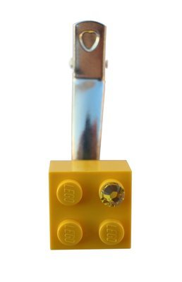 ​Yellow LEGO® brick 2x2 with a Yellow SWAROVSKI® crystal on a Silver plated hair clip (one piece)​