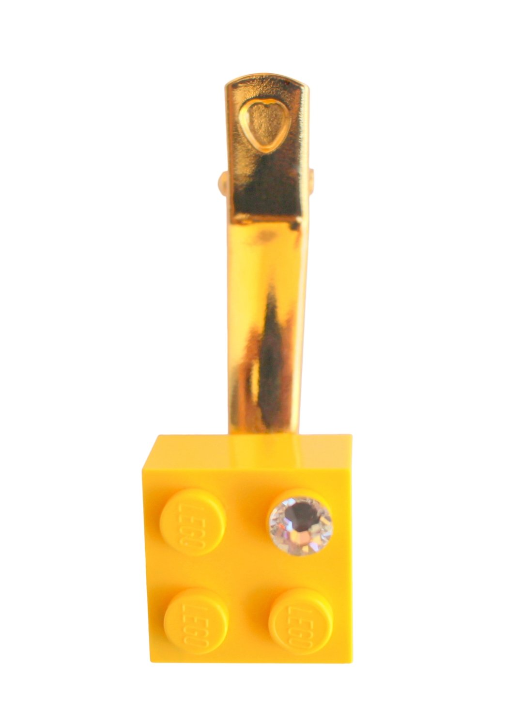 Yellow LEGO® brick 2x2 with a 'Diamond' color SWAROVSKI® crystal on a Gold plated hair clip (one piece)