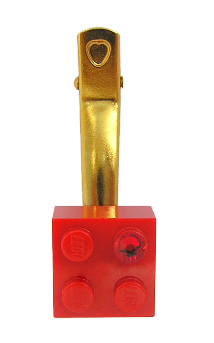 Red LEGO® brick 2x2 with a Red SWAROVSKI® crystal on a Gold plated hair clip (one piece)