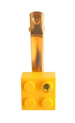​Yellow LEGO® brick 2x2 with a Yellow SWAROVSKI® crystal on a Gold plated hair clip (one piece)
