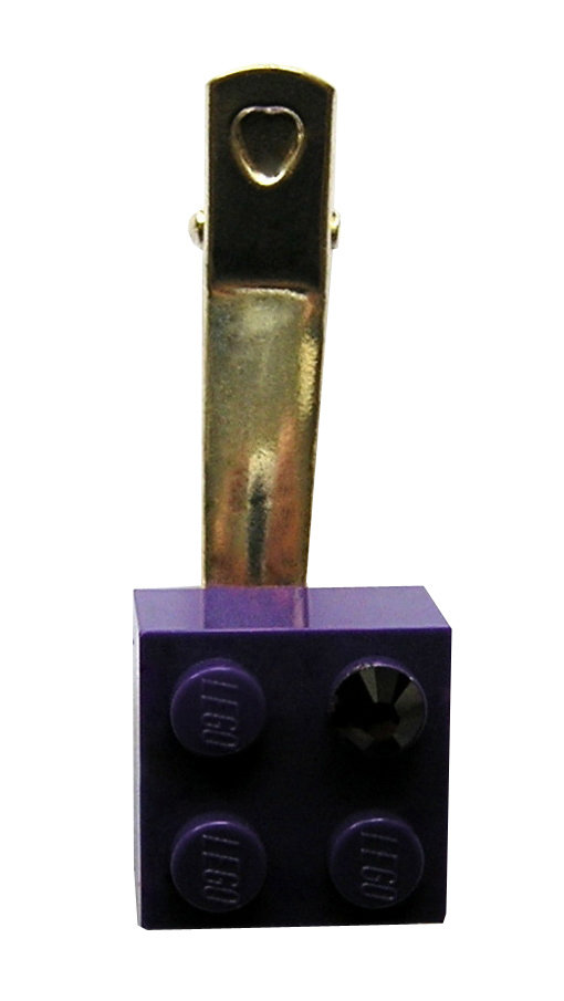 Purple LEGO® brick 2x2 with a Purple SWAROVSKI® crystal on a Silver plated hair clip (one piece)