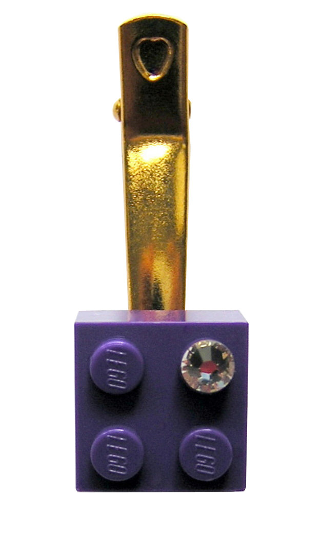 ​Purple LEGO® brick 2x2 with a 'Diamond' color SWAROVSKI® crystal on a Gold plated hair clip (one piece)