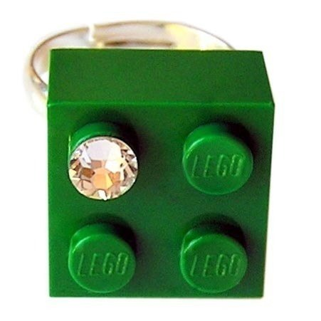 ​Dark Green LEGO® brick 2x2 with a 'Diamond' color SWAROVSKI® crystal on a Silver plated adjustable ring finding​