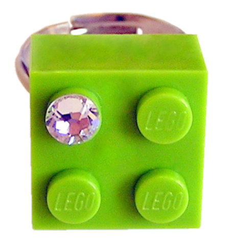 Light Green LEGO® brick 2x2 with a 'Diamond' color SWAROVSKI® crystal on a Silver plated adjustable ring ​finding