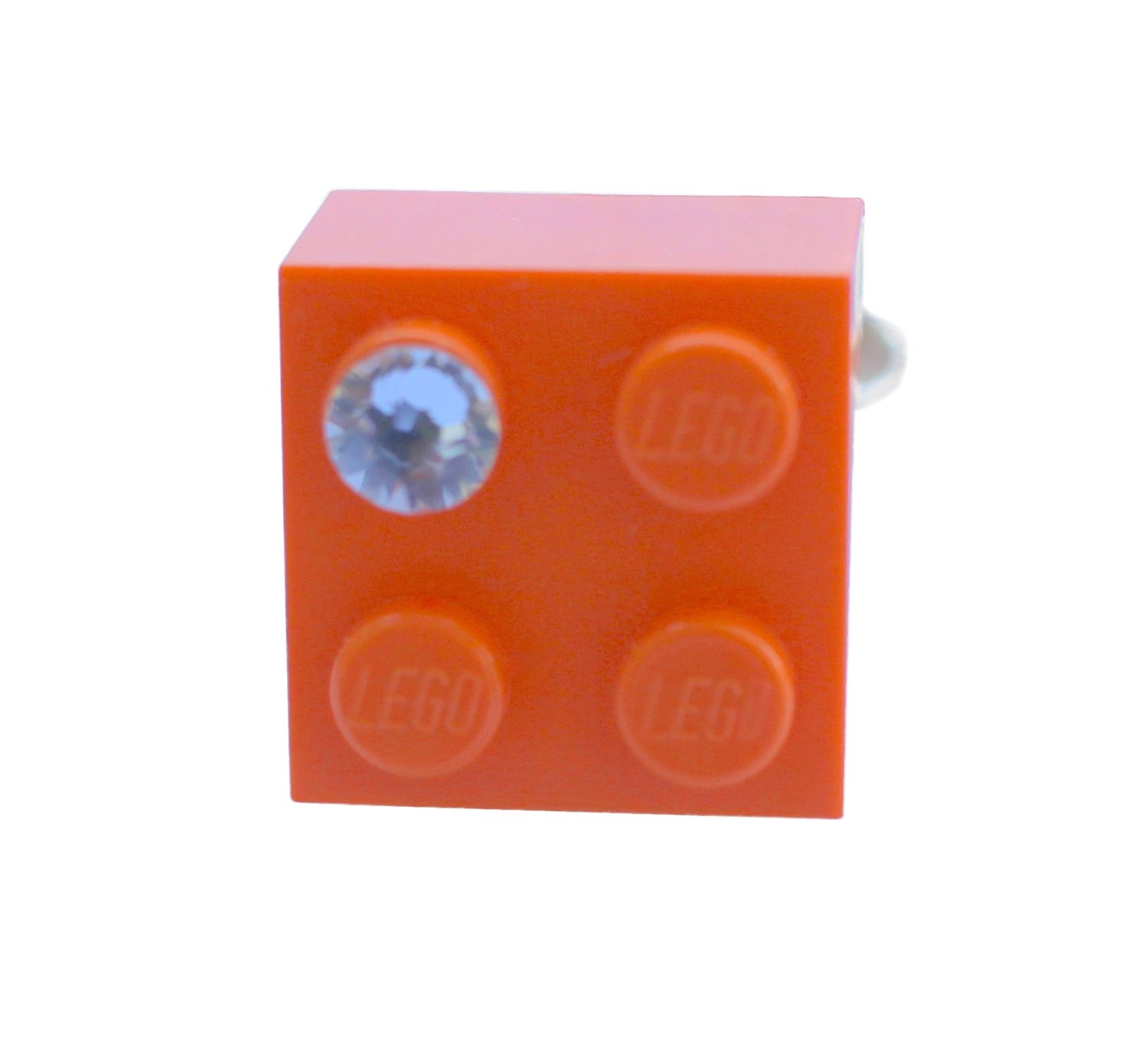 Orange LEGO® brick 2x2 with a 'Diamond' color SWAROVSKI® crystal on a Silver plated adjustable ring finding 