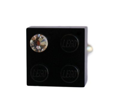 Black LEGO® brick 2x2 with a 'Diamond' color SWAROVSKI® crystal on a Silver plated adjustable ring finding