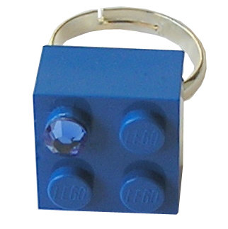 Dark Blue LEGO® brick 2x2 with a Blue SWAROVSKI® crystal on a Silver plated adjustable ring finding