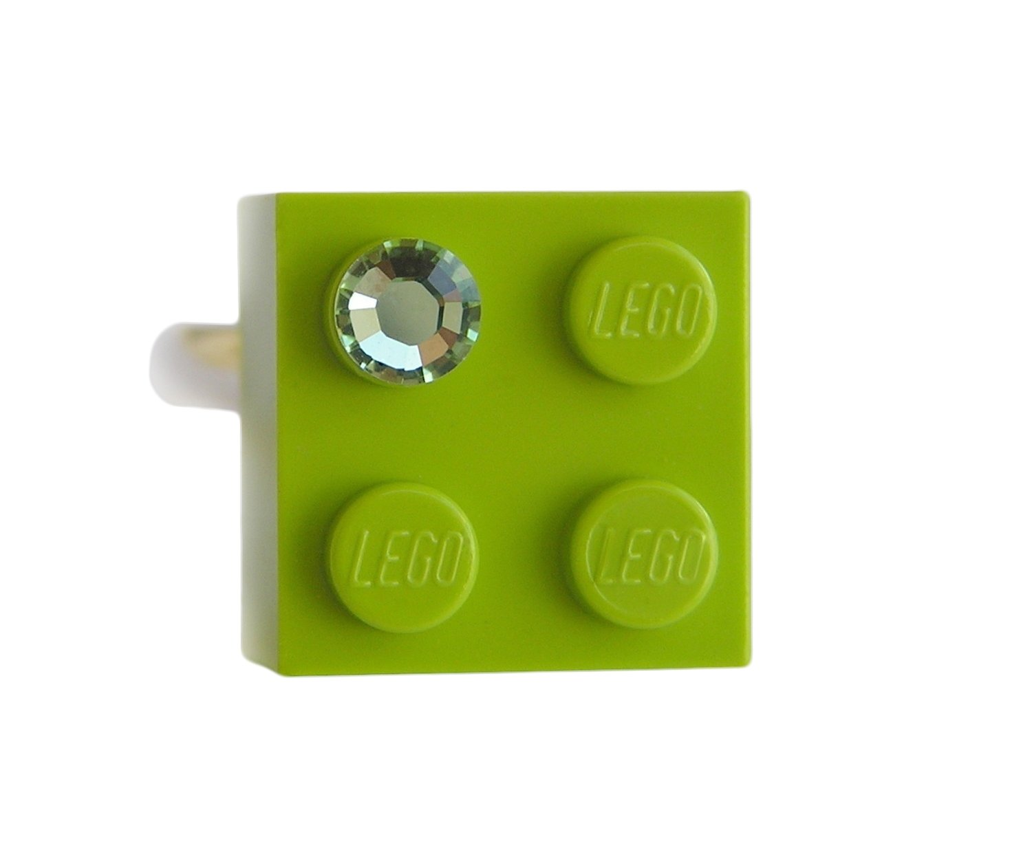 Light Green LEGO® brick 2x2 with a Green SWAROVSKI® crystal on a Silver plated adjustable ring finding 