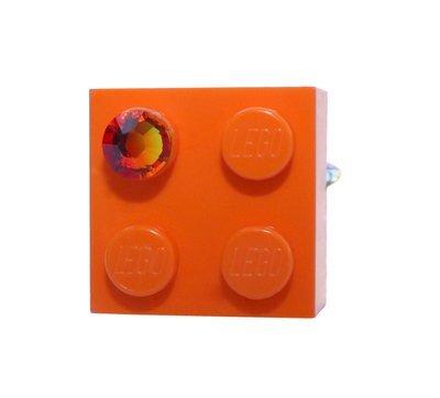 Orange LEGO® brick 2x2 with an Orange SWAROVSKI® crystal on a Silver plated adjustable ring finding