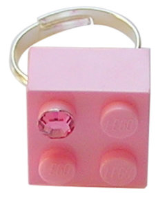 Light Pink LEGO® brick 2x2 with a Pink SWAROVSKI® crystal on a Silver plated adjustable ring finding