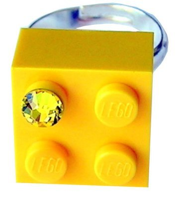 Yellow LEGO® brick 2x2 with a Yellow SWAROVSKI® crystal on a Silver plated adjustable ring finding