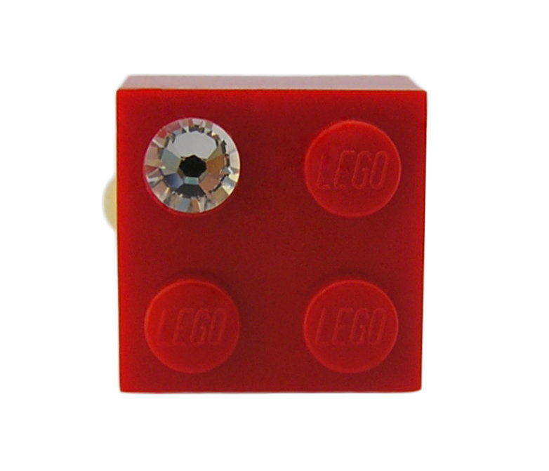 Red LEGO® brick 2x2 with a 'Diamond' color SWAROVSKI® crystal on a Gold plated adjustable ring finding