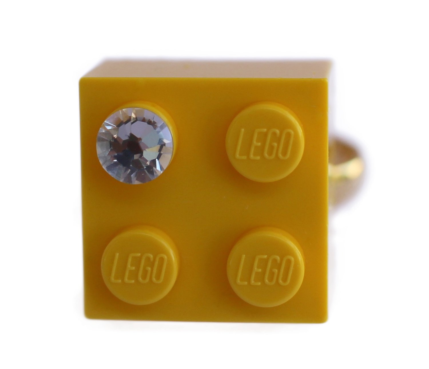 ​Yellow LEGO® brick 2x2 with a 'Diamond' color SWAROVSKI® crystal on a Gold plated adjustable ring finding