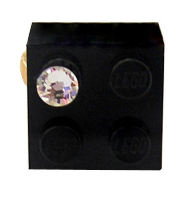 Black LEGO® brick 2x2 with a 'Diamond' color SWAROVSKI® crystal on a Gold plated adjustable ring finding