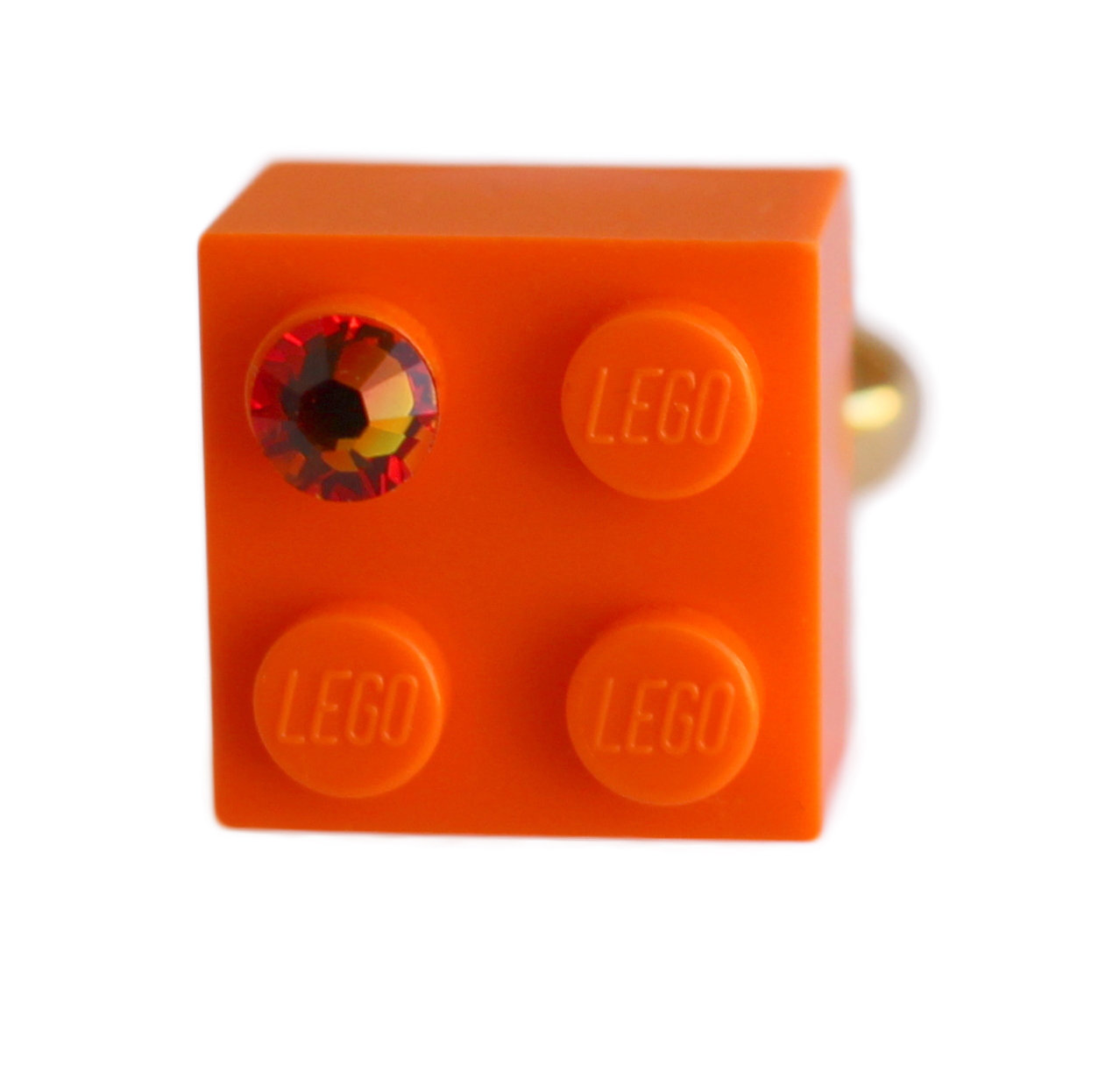 Orange LEGO® brick 2x2 with an Orange SWAROVSKI® crystal on a Gold plated adjustable ring finding