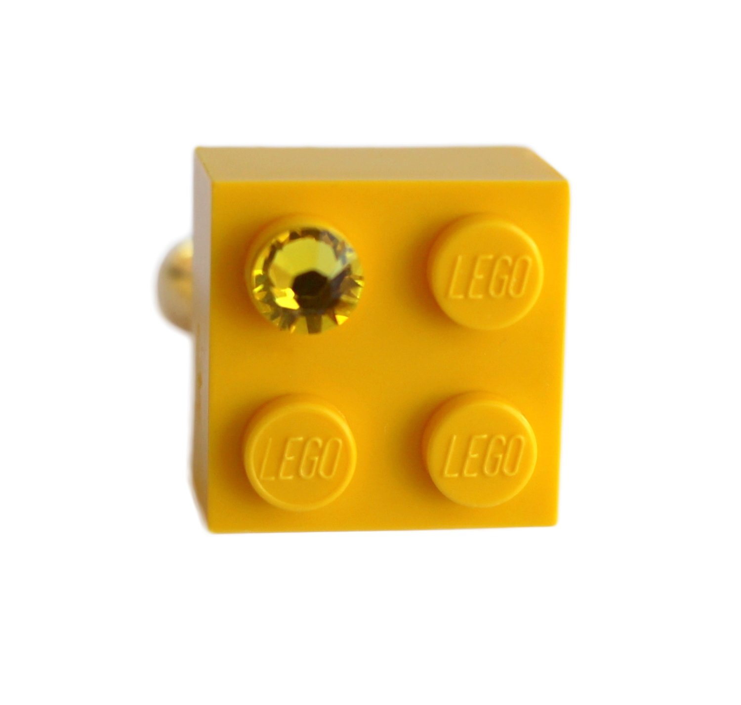 ​Yellow LEGO® brick 2x2 with a Yellow SWAROVSKI® crystal on a Gold plated adjustable ring finding