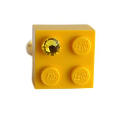 Yellow LEGO® brick 2x2 with a Yellow SWAROVSKI® crystal on a Gold plated adjustable ring finding