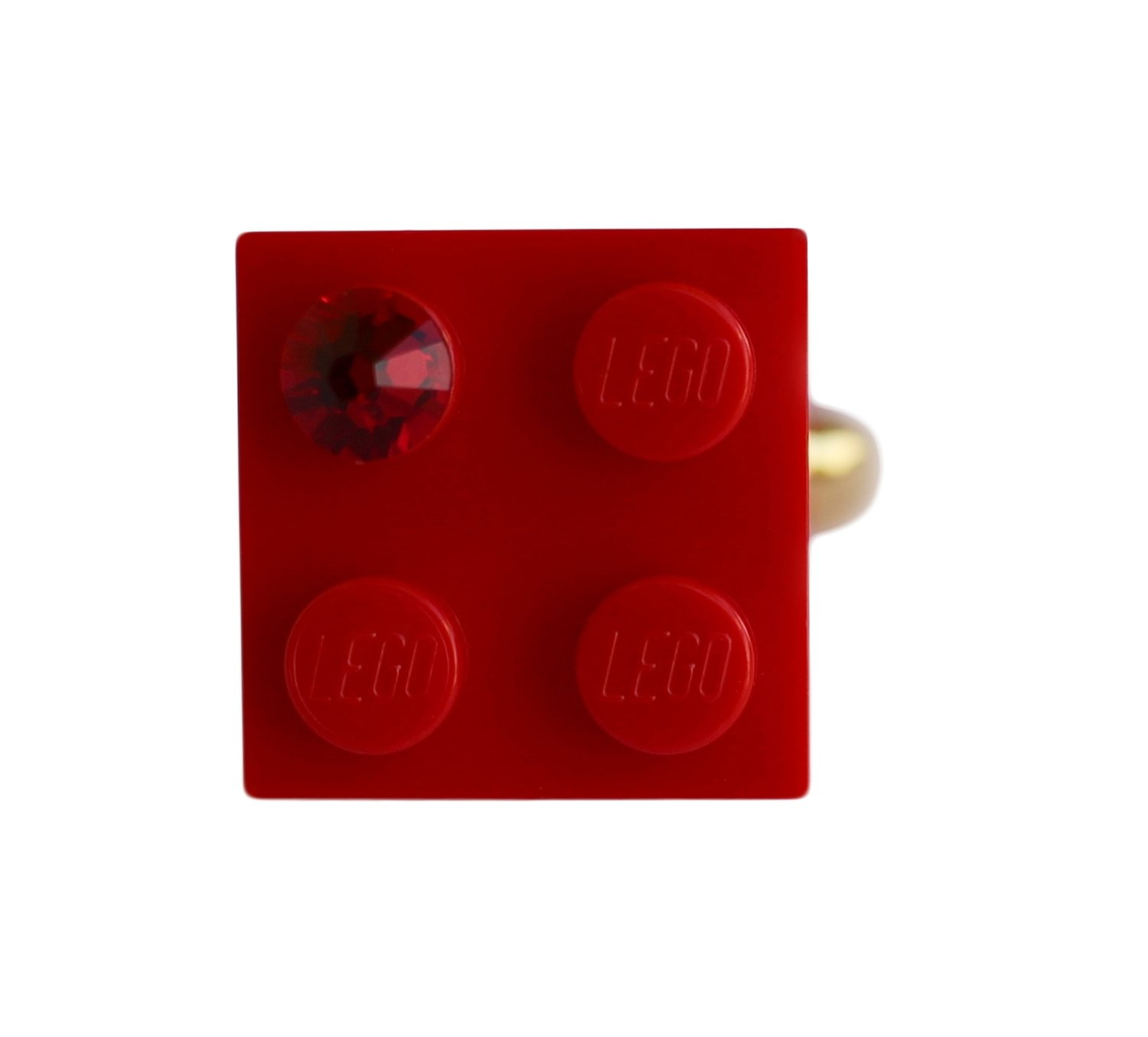 ​Red LEGO® brick 2x2 with a Red SWAROVSKI® crystal on a Gold plated adjustable ring finding