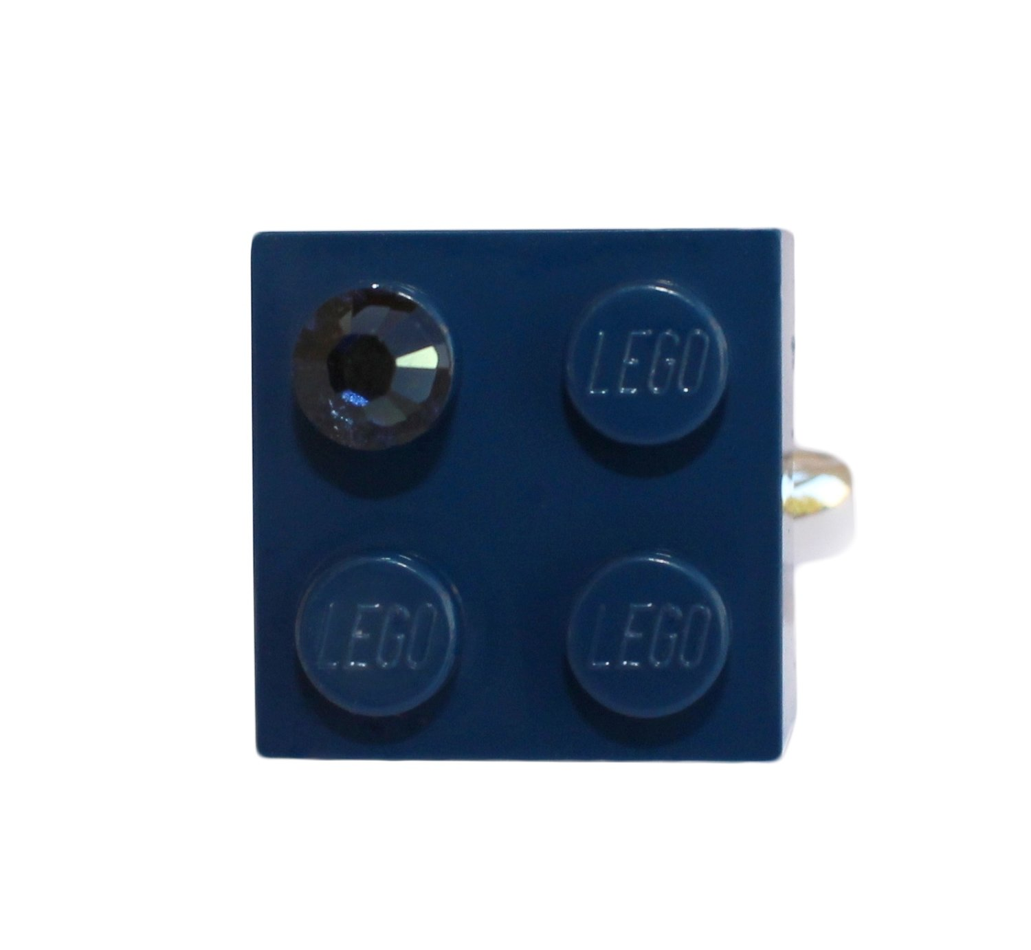 ​Navy Blue LEGO® brick 2x2 with a Blue SWAROVSKI® crystal on a Silver plated adjustable ring ​finding