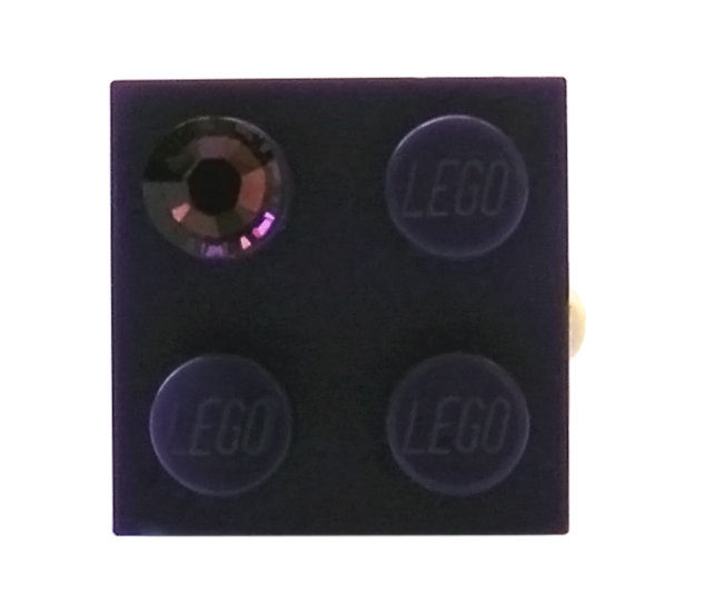 Purple LEGO® brick 2x2 with a Purple SWAROVSKI® crystal on a Gold plated adjustable ring finding