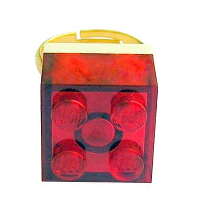 Transparent Red LEGO® brick 2x2 on a Gold plated adjustable ring finding