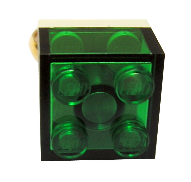 Transparent Green LEGO​®​ brick 2x2 on a Gold plated adjustable ring finding