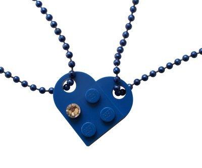 Dark Blue 2 piece customizable LEGO® heart made from 2 LEGO® plates with a 'Diamond' color SWAROVSKI® crystal on 2 Blue ballchains