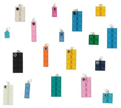 Lot kit DIY of 10 beads-charms made from LEGO® brick/SWAROVSKI® crystal