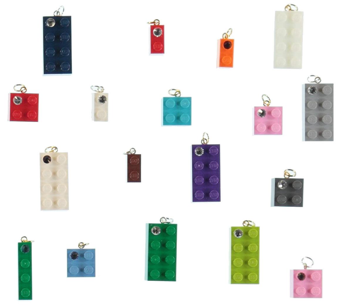 Lot kit DIY of 20 beads-charms made from LEGO® brick/SWAROVSKI® crystal