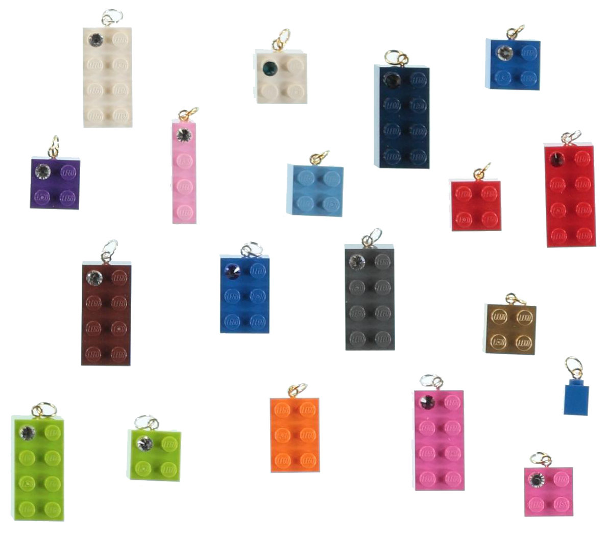 Lot kit DIY of 50 beads-charms made from LEGO® brick/SWAROVSKI® crystal