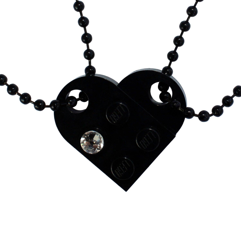 Black 2 piece customizable LEGO® heart made from 2 LEGO® plates with a 'Diamond' color SWAROVSKI® crystal on 2 Black ballchains