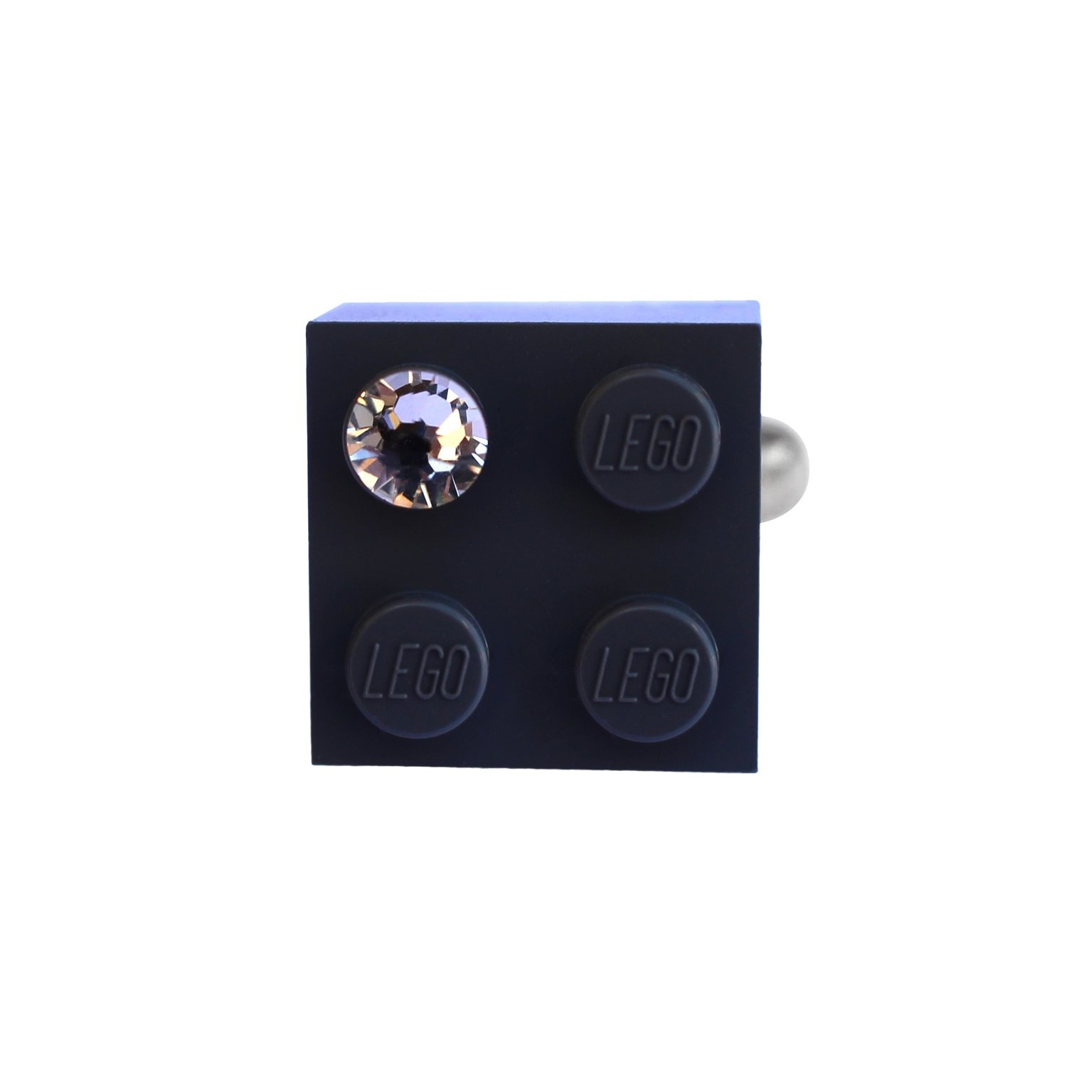 Gray LEGO® brick 2x2 with a 'Diamond' color SWAROVSKI® crystal on a Silver plated adjustable ring finding