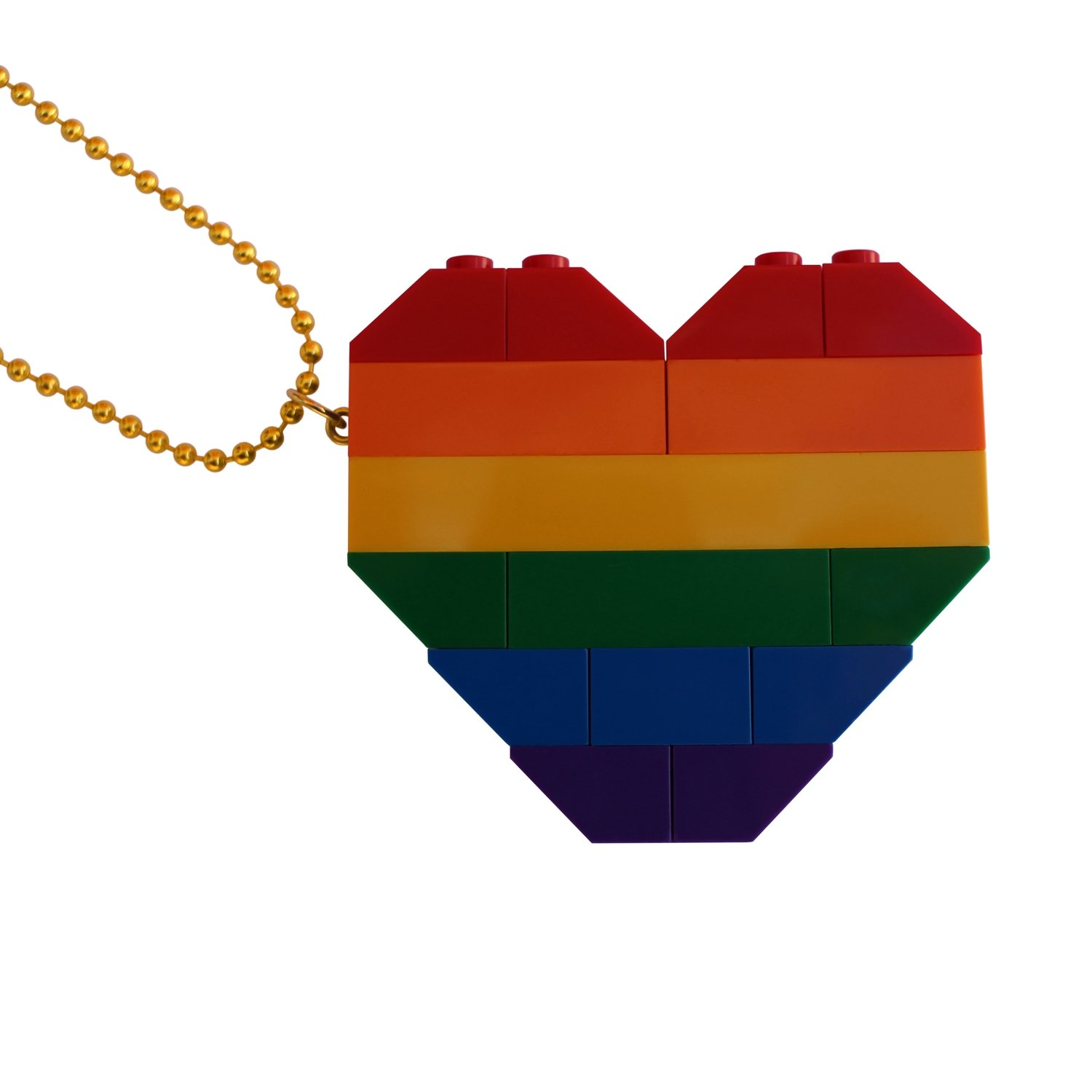 """Collectible heart pendant (Double thickness) Model 1 - made from LEGO® bricks on a 24"""" Gold plated ballchain - RAINBOW"""