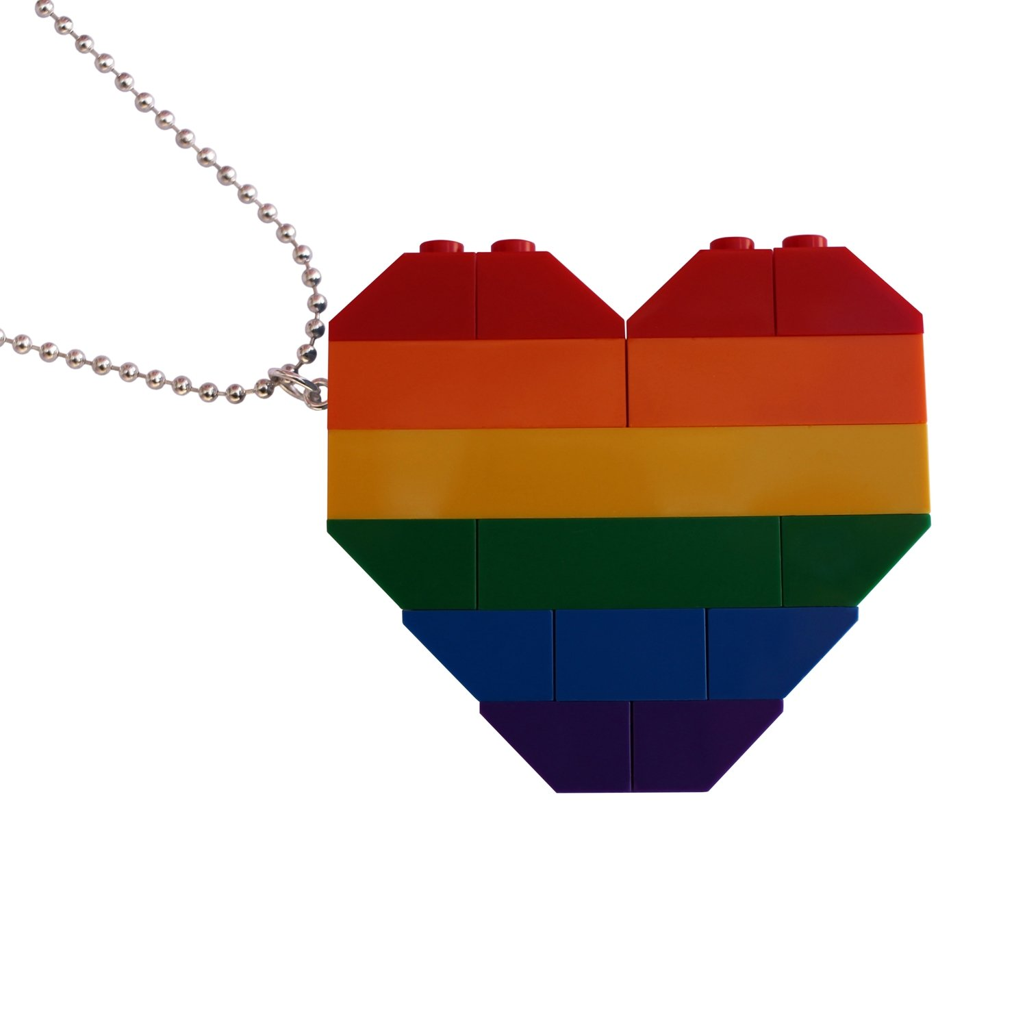 "Collectible heart pendant (Double thickness) Model 1 - made from LEGO® bricks on a 24"" Silver plated ballchain - RAINBOW"