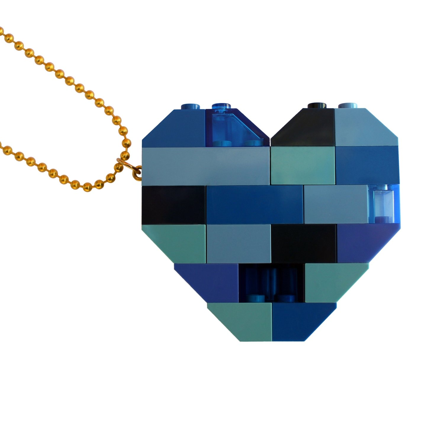 """Collectible heart pendant (Double thickness) Model 3 - made from LEGO® bricks on a 24"""" Gold plated ballchain - NAVY"""