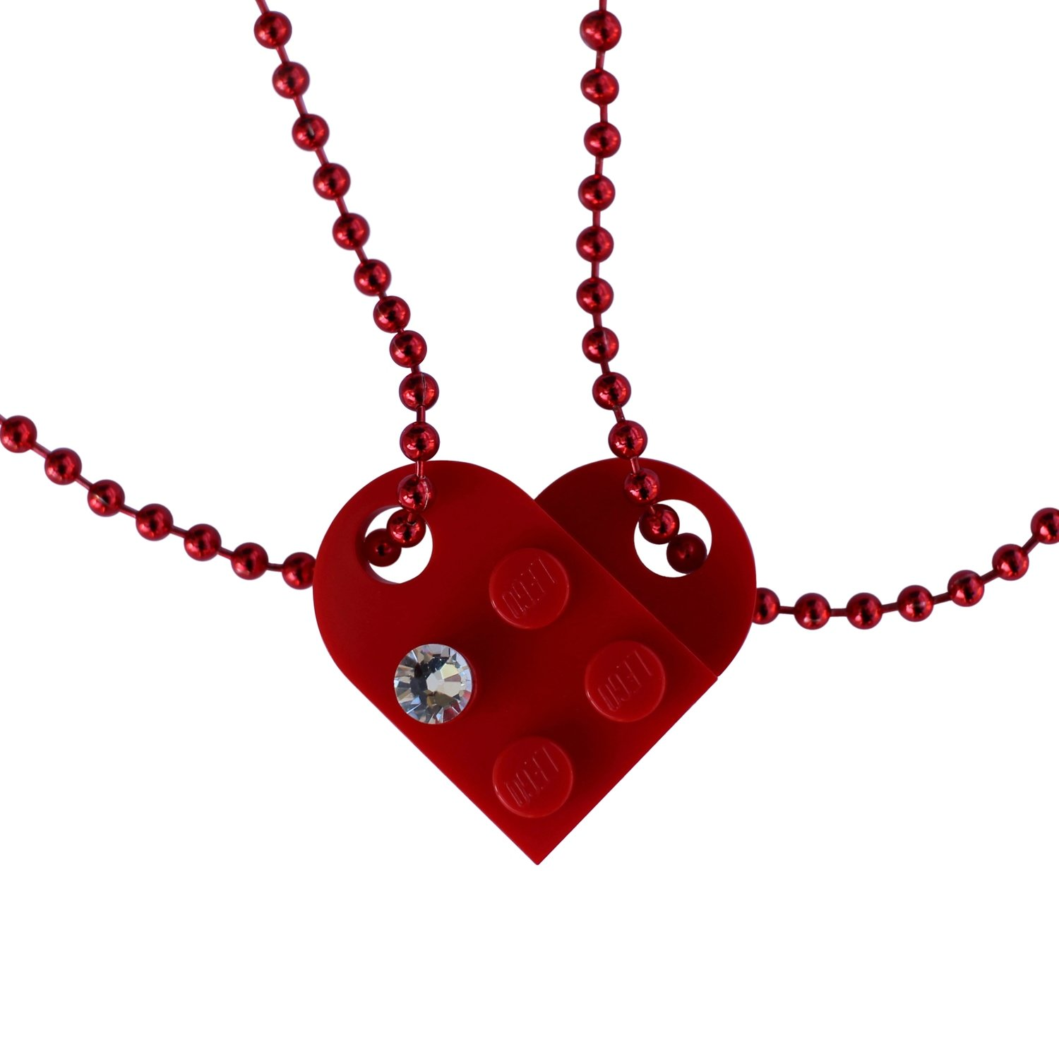 Red 2 piece customizable LEGO® heart made from 2 LEGO® plates with a 'Diamond' color SWAROVSKI® crystal on 2 Red ballchains