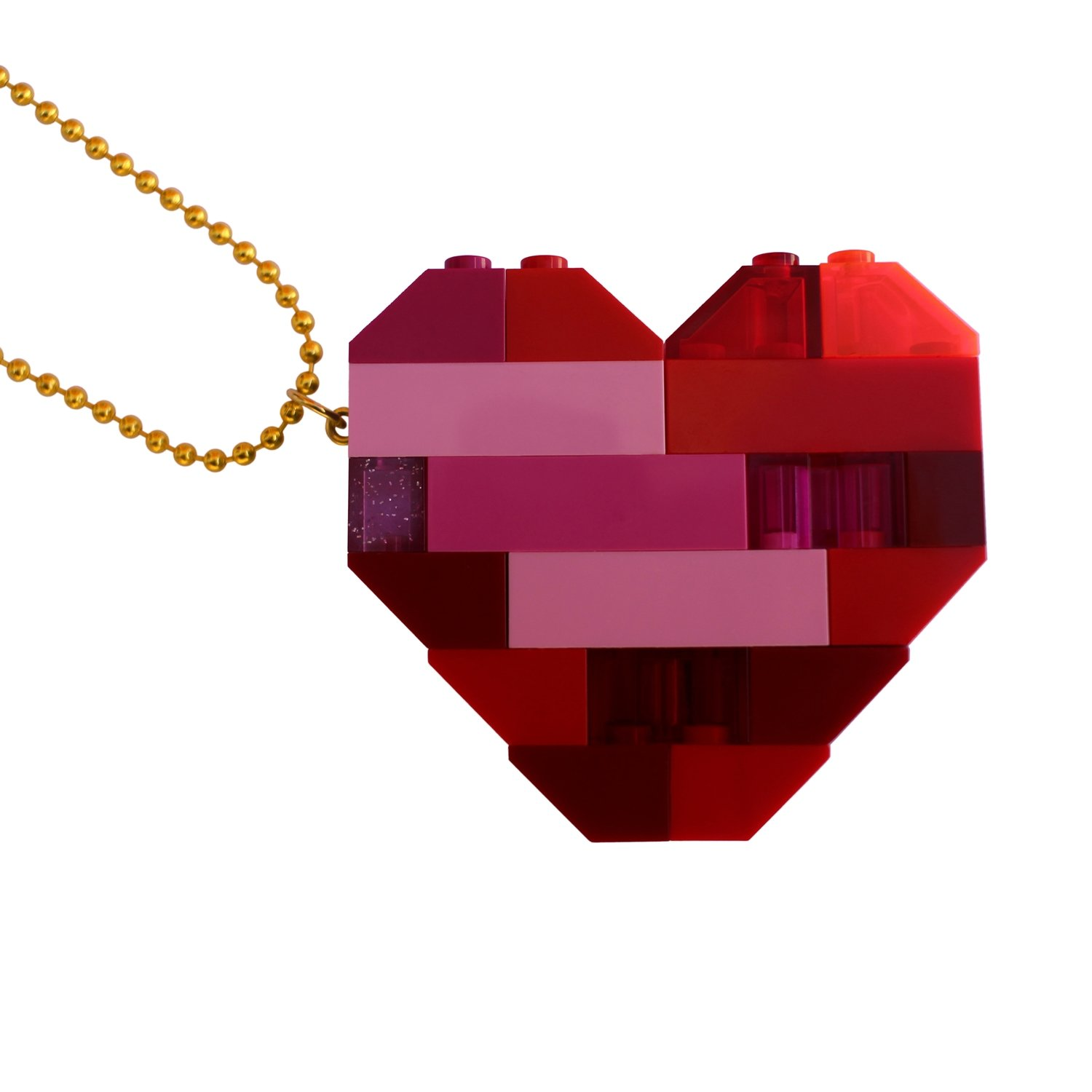 """Collectible heart pendant (Double thickness) Model 2 - made from LEGO® bricks on a 24"""" Gold plated ballchain"""