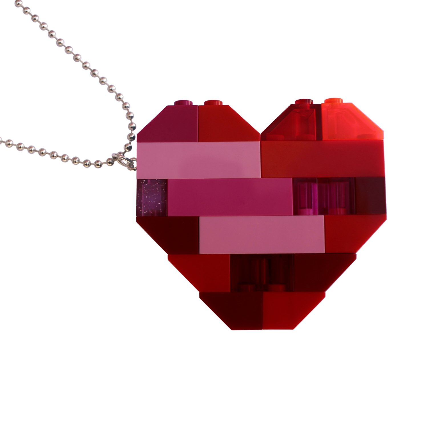 """Collectible heart pendant (Double thickness) Model 2 - made from LEGO® bricks on a 24"""" Silver plated ballchain"""