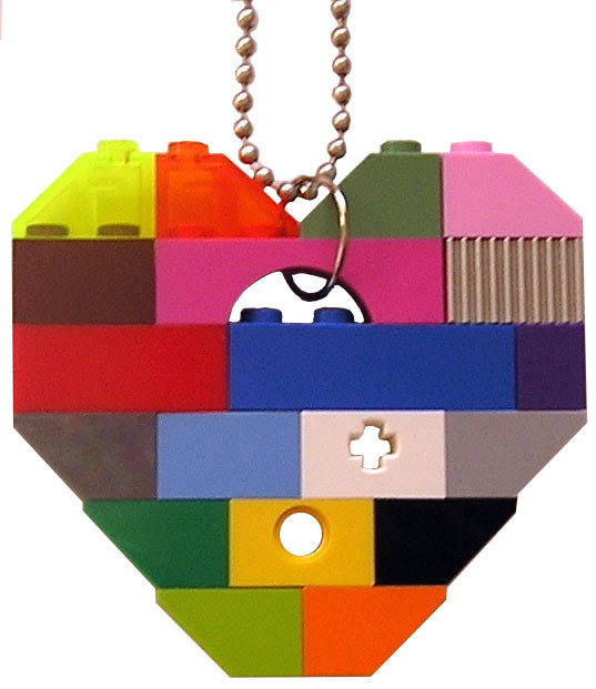 "​Collectible heart pendant (Single thickness) Model 1 - made from LEGO® bricks on a 24"" Silver plated ballchain - COLORFUL"